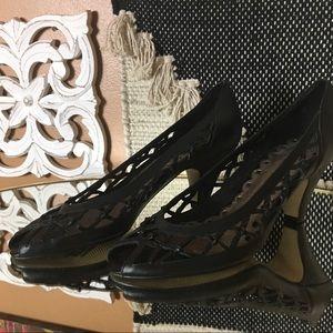 SEYCHELLES / Black Woven Leather Heels